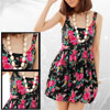 Girl US L Floral Cotton Sleeveless Black Tank Top Slip Dress