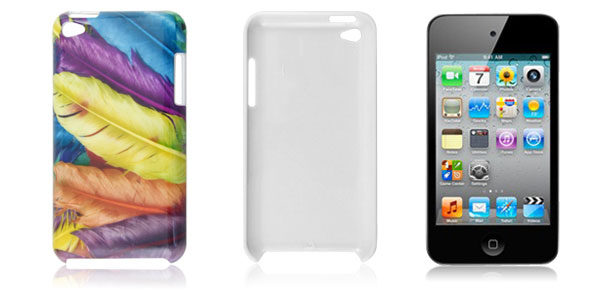 Colorful Feather Pattern Plastic Back Case for iPod Touch 4G
