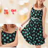 Girls Black U Neck Dots Print Strap Spaghetti Dress US Size L