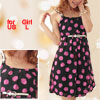 Girls Black U Neck Dots Print Chiffon Strap Dress US Sz L