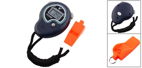 Neck Strap Navy Blue Stopwatch Digital Watch w Whistle Olzgw