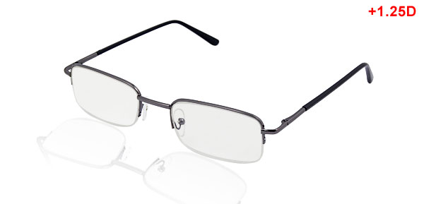 +1.25D Black Metal Frame Half Rims Reading Glasses