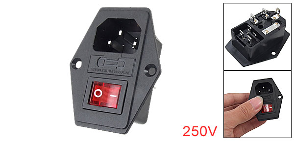 3 Pin IEC320 C14 Inlet Module Plug Fuse Switch Male Power Socket 10A 250V
