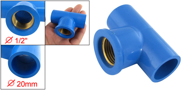 3 Way 90 Degree Tee T PVC Connector Pipe Fitting Blue