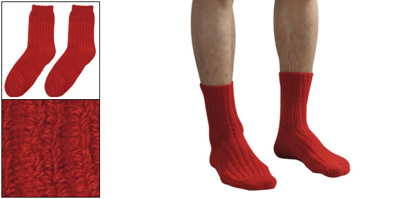 2PCS Solid Red Ribbed Terry Stretchy Warm Winter Socks