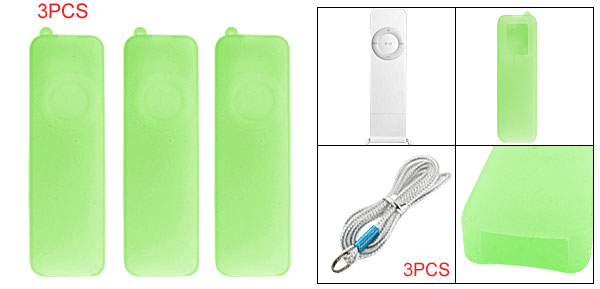 3Pcs Silicone Protective Case for iPod Shuffle 1G Green