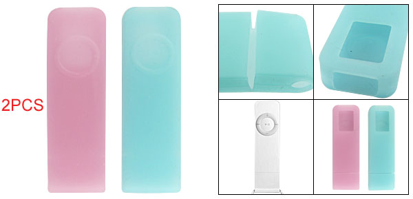 2Pcs Silicone Skin Case Cover Pink Light Turquoise for iPod Shuffle 1G