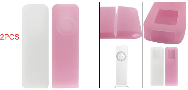 White Pink Silicone Protector Cover for iPod Shuffle 1G