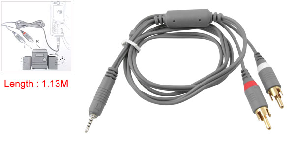 Phone 1.13M Length 2.5mm Audio Cable for Motorola E398