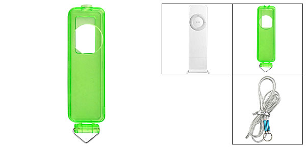 Clear Green Cover Case w Neck Strap for iPod Shuffle 1G