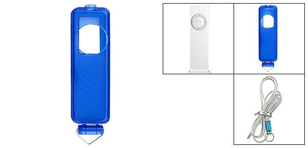 Clear Blue Cover Neck Strap Case for iPod Shuffle 1G Gen