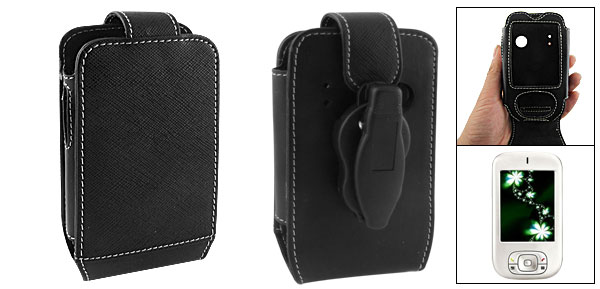 Black Faux Lether Belt Clip Pouch for O2 XDA II Mini
