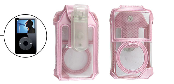 Faux Leather Pink Pouch Case + Belt Clip for iPod Video 30GB