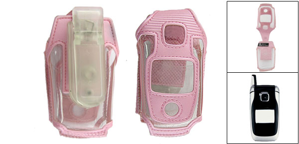 Pink Belt Clip + Faux Leather Bag for Nokia 6101 6102