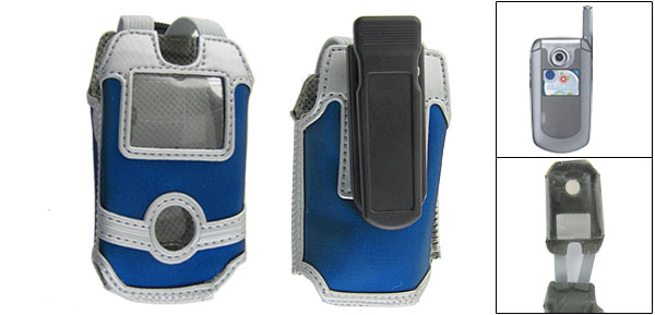 Blue Gray Faux Leather Pouch + Belt Clip for Motorola V710