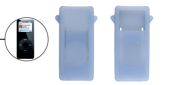 Soft Silicone Clear Light Blue Skin Cover for iPod Nano 1st Gen