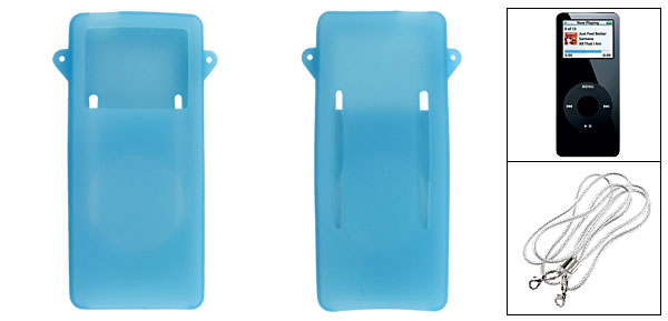 Clear Blue Silicone Skin Case + Straps for iPod Nano 1st Gen