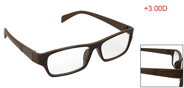 Blue Gray Wood Grain Pattern Rim Reading Glasses +3.00