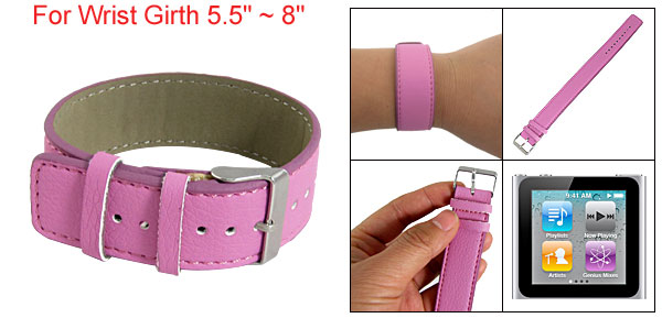 Pink Adjustable Faux Leather Watch Band for iPod Nano 6