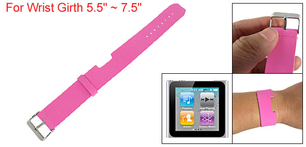Fuchsia Faux Leather Watch Band Wrist Strap for iPod Nano 6