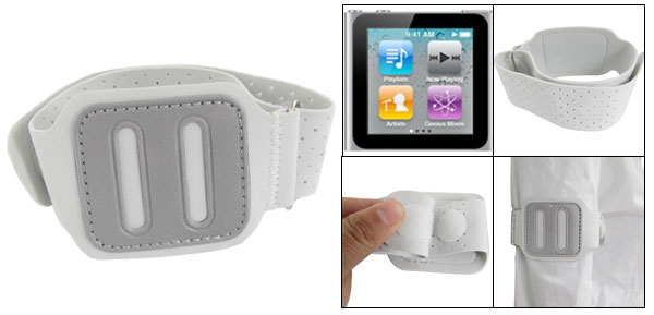 Adjustable Gym Sports Armband Off White for iPod Nano 6