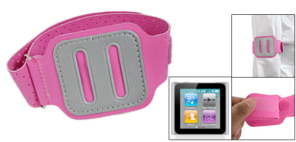 Fuchsia Faux Leather Sports Armband Case for iPod Nano 6