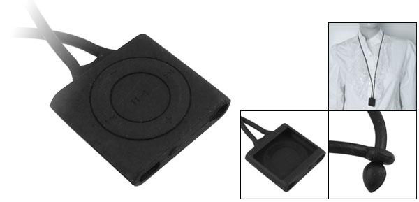Black Neck Strap Style Silicon Cover for iPod Shuffle 4