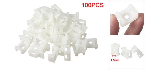4.5mm Cable Tie Mount Wire Buddle Saddle Type Plastic Holder White 100PCs