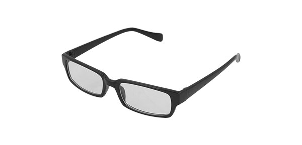 Black Rectangle Plastic Frame Clear Lens Glasses