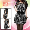 Ladies Lining Laced Round Neck Short Sleeves Chiffon Dress XS