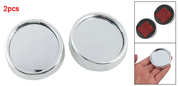 2pcs Silver Tone 56mm Auto Car Round Stick-on Rearview Blind Spot Convex Mirror