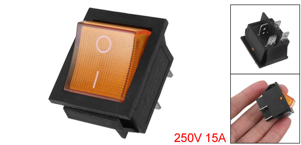 Orange Light 4 Pin DPST ON/OFF Snap in Boat Rocker Switch 15A 250V AC 29x21mm