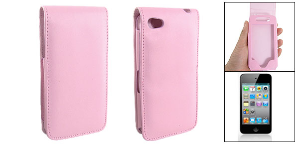 Pink Faux Leather Flip Case Cover for iPod Touch 4G