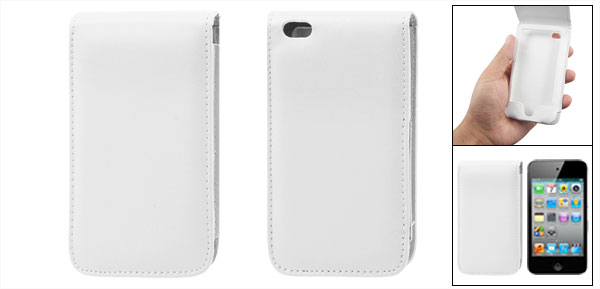 White Faux Leather Case Flip Cover for iPod Touch 4G