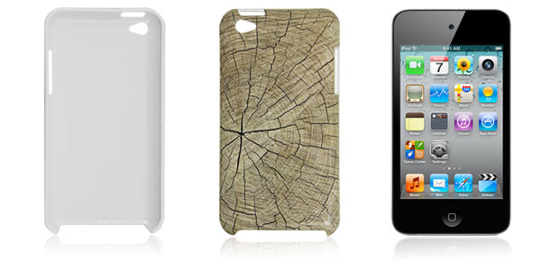 Wood Print Hard Plastic IMD Back Case for iPod Touch 4G