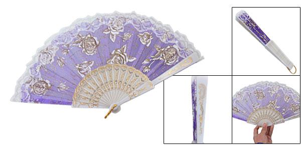 Indigo Blue Plastic Ribs Dance Folding Hand Fan