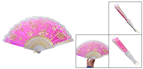 Fuchsia White Plastic Ribs Dance Foldable Hand Fan