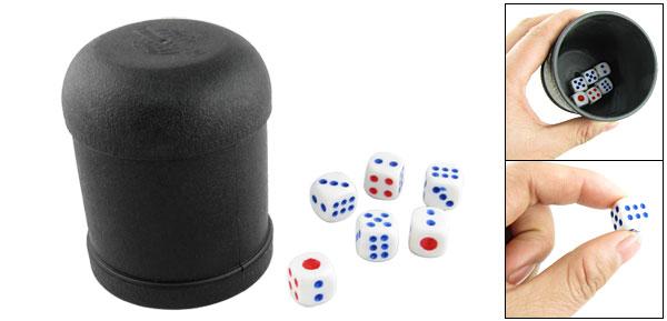 Bar Black Plastic Shaker Cup w 6 Pcs Round Corner Dice