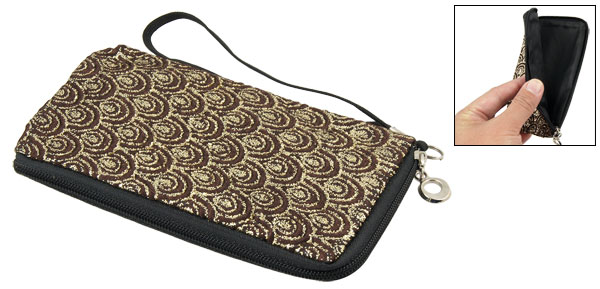 Glittery Gold Tone Brown Fish Scales L-shape Zip Phone Pouch w Hand Strap