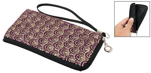 Gold Tone Purple Fish Scales L-shape Zipper Closure Purse Phone Pouch