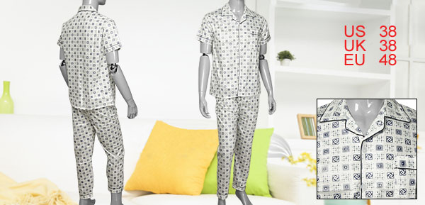 Sz M Elastic Waist Pants + Button-down Short Sleeves Pajamas for Men
