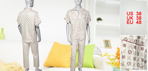 M Patch Pocket Detail Printed Summer Pajamas Suit for Men