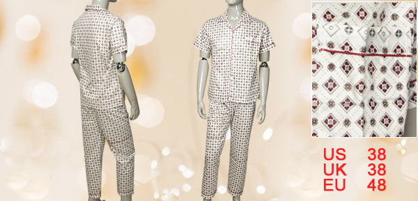 Sz M Square Printed Single Button Top + Elastic Wasit Bottom Pajamas for Men