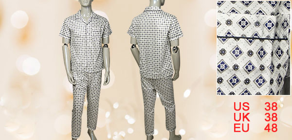 Men Notched Lapel Short Sleeves + Printed Pants Pajamas Sz M