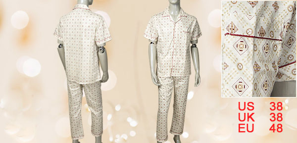 Men Single Breasted Top match Loose Bottom Summer Pajamas Set M