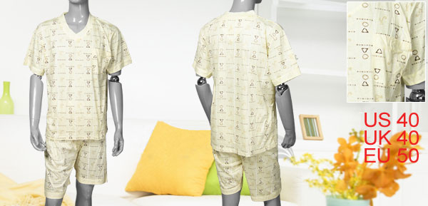 Men Letters Printed Cuff Sleeves Pajamas Set Light Yellow L