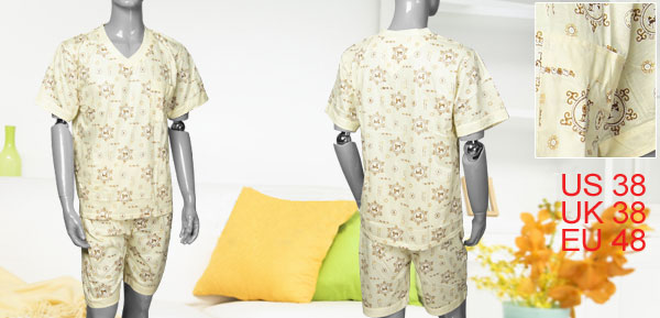 Men Printed Light Yellow V Neck Top + Shorts Pajamas Set M