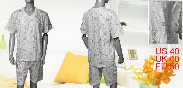 L Leaf Sail Printed V Neck Top + Shorts Pajamas for Men