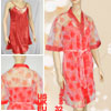 Ladies XS Sequin Accent Sheer Mesh Robe w Red Spaghetti Dress
