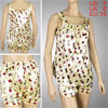 Ladies Burgundy Brown Dots Pattern Beige Sleeveless Pajamas Short...